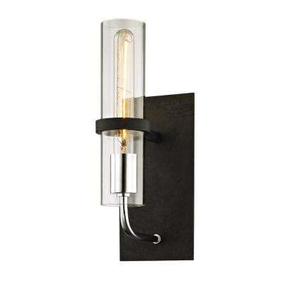 Xavier 1-Light Vintage Iron 13.5 in. H Wall Sconce with Clear Glass