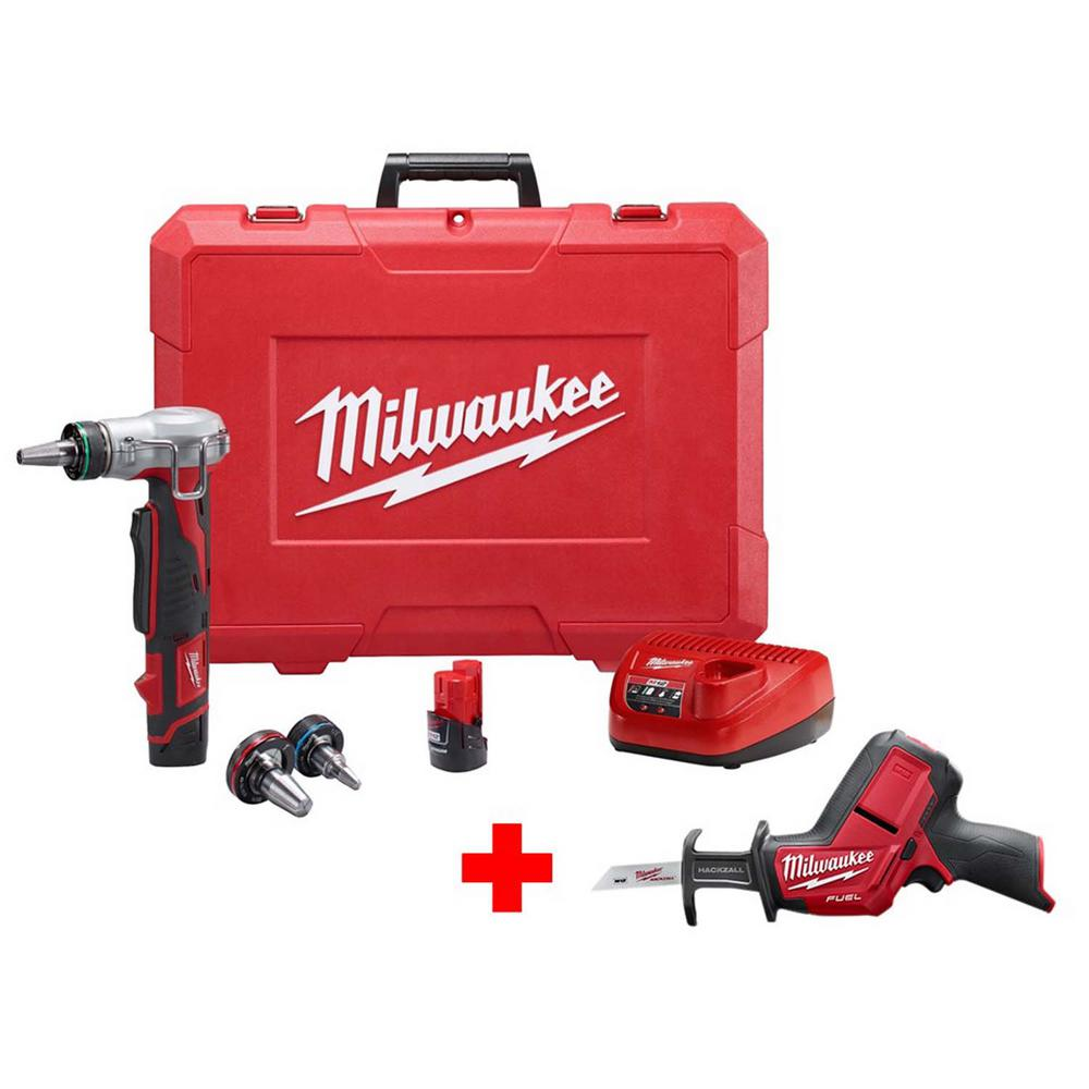 Milwaukee M12 12-Volt Lithium-Ion Cordless ProPEX Expansion Tool Kit with Free M12 FUEL HACKZALL Reciprocating Saw