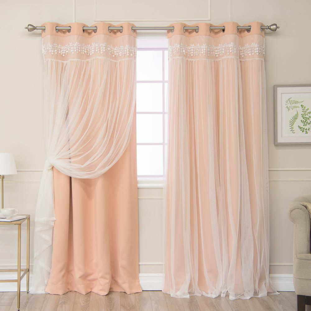 Best Home Fashion 96 In L Elis Lace Overlay Blackout Curtain Panel