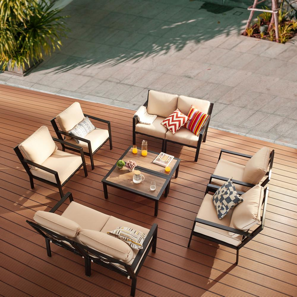 Reviews For Patio Festival X Back 10 Piece Metal Patio Conversation Seating Set With Beige Cushions Pf20725x2 724x2 723x4 211x2 The Home Depot
