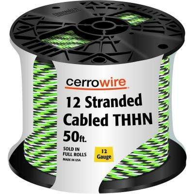 50 ft. 12-3 Black, White and Green Cabled Stranded THHN Cable