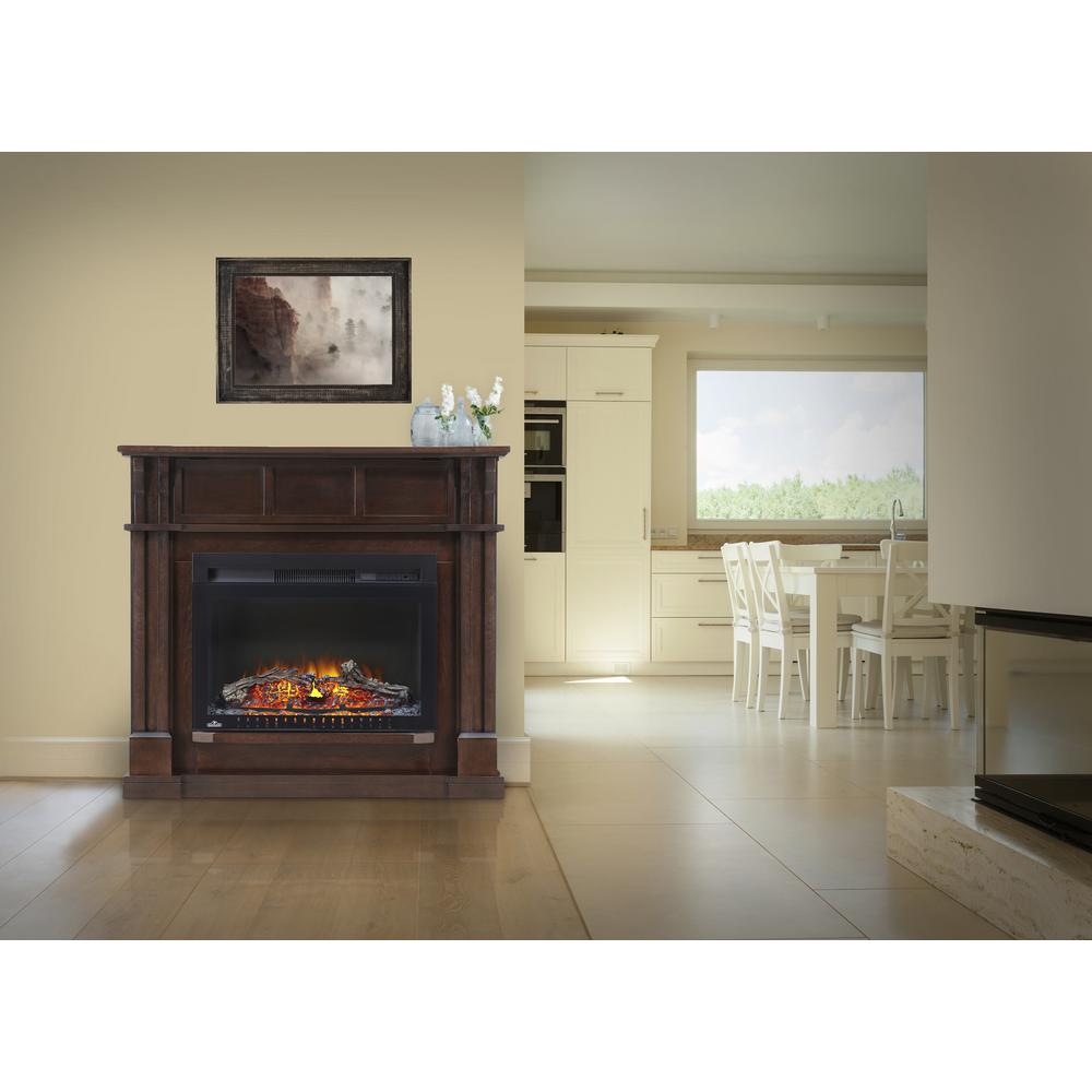 Corner Mantel Package Electric Fireplace In Espresso