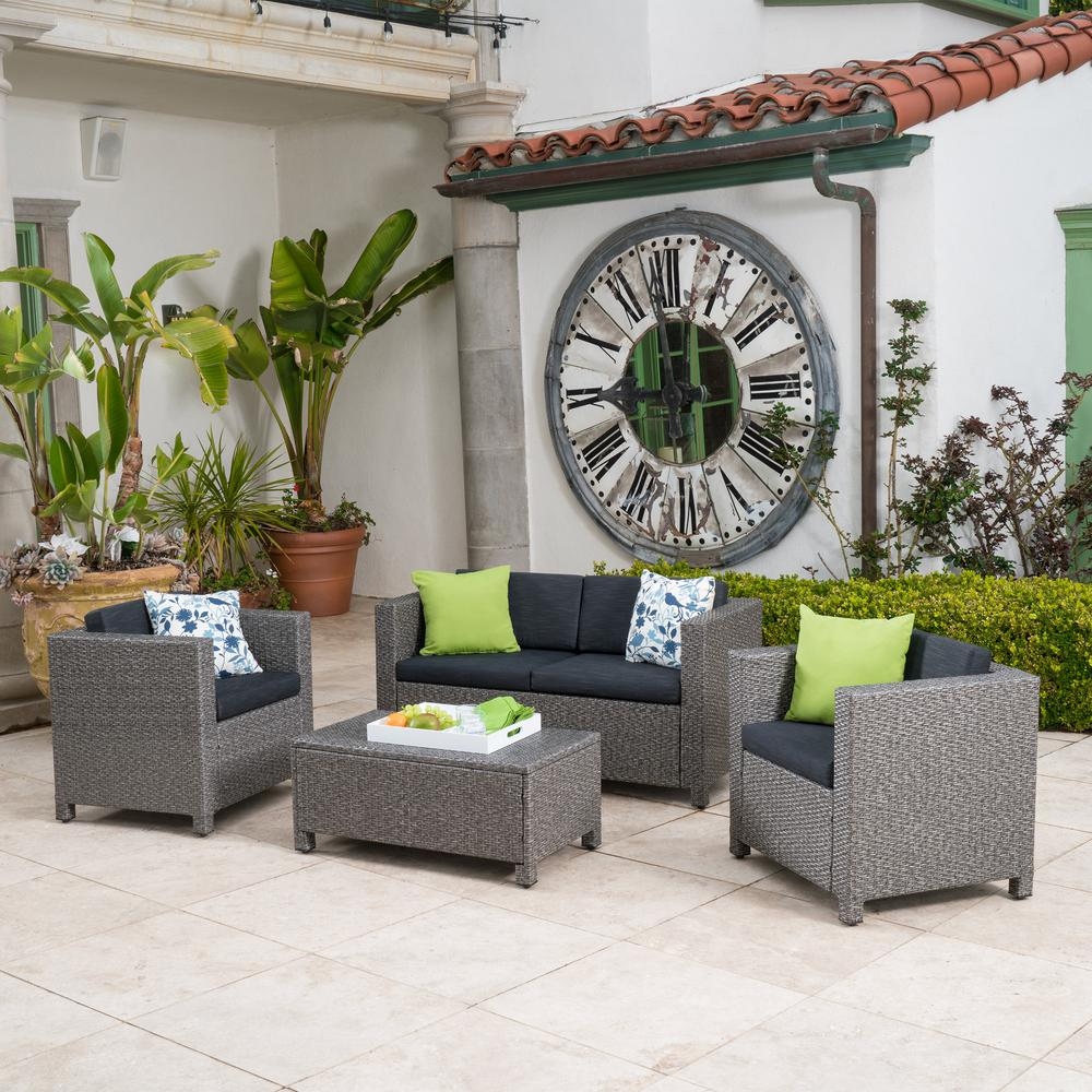 Noble House Puerta Grey 4-Piece Wicker Patio Conversation Set with Mixed Black Cushions