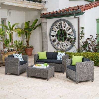 Puerta Grey 4-Piece Wicker Patio Conversation Set with Mixed Black Cushions