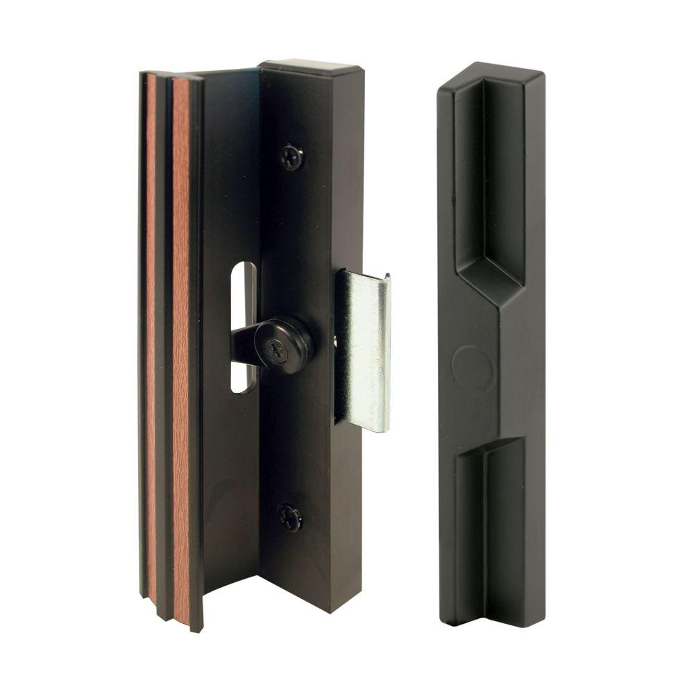 Prime line black aluminum and diecast sliding door handle for Sliding glass doors hardware