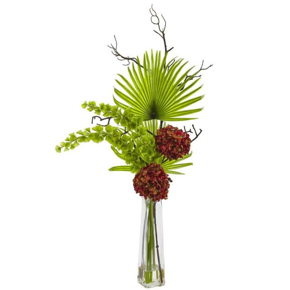 Nearly Natural Hydrangea, Bells Of Ireland and Palm Frond Arrangement 1435-RU