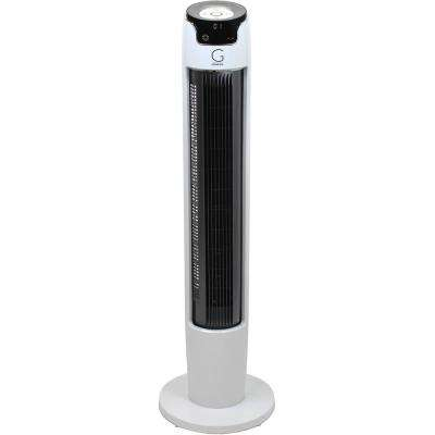 43 in. Oscillating Digital Tower Fan with Remote and Max Cool Technology, White