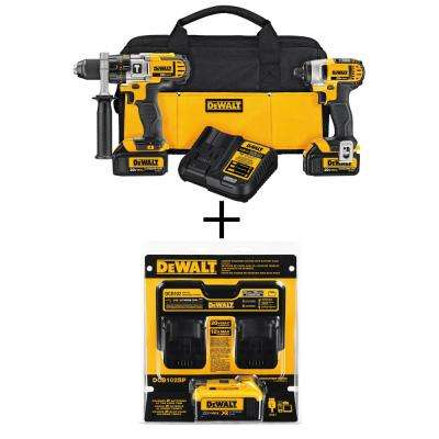 20-Volt MAX Lithium-Ion Cordless Hammer Drill/Impact Driver Combo Kit (2-Tool) with Bonus Battery Pack 4Ah and Charger