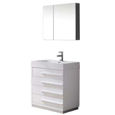 Livello 30 in. Vanity in White with Acrylic Vanity Top in White and Medicine Cabinet