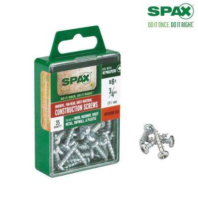 #8 x 3/4 in. Philips Square Drive Pan-Head Full Thread Zinc Coated Multi-Material Screw (35 per Box)