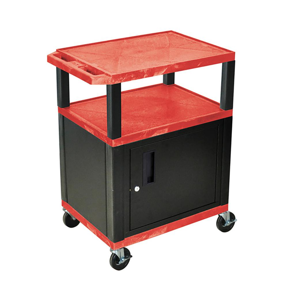 WT 34 ft. H 3 Shelf Cart with Black Cabinet, Red