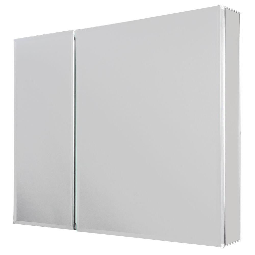 Glacier Bay 30 In W X 26 In H Frameless Recessed Or Surface Mount Bi View Bathroom Medicine Cabinet With Beveled Mirror In Silver Sp4453 The Home Depot