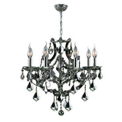 Crystal chandeliers lighting the home depot lyre 8 light chrome and black crystal chandelier aloadofball Image collections