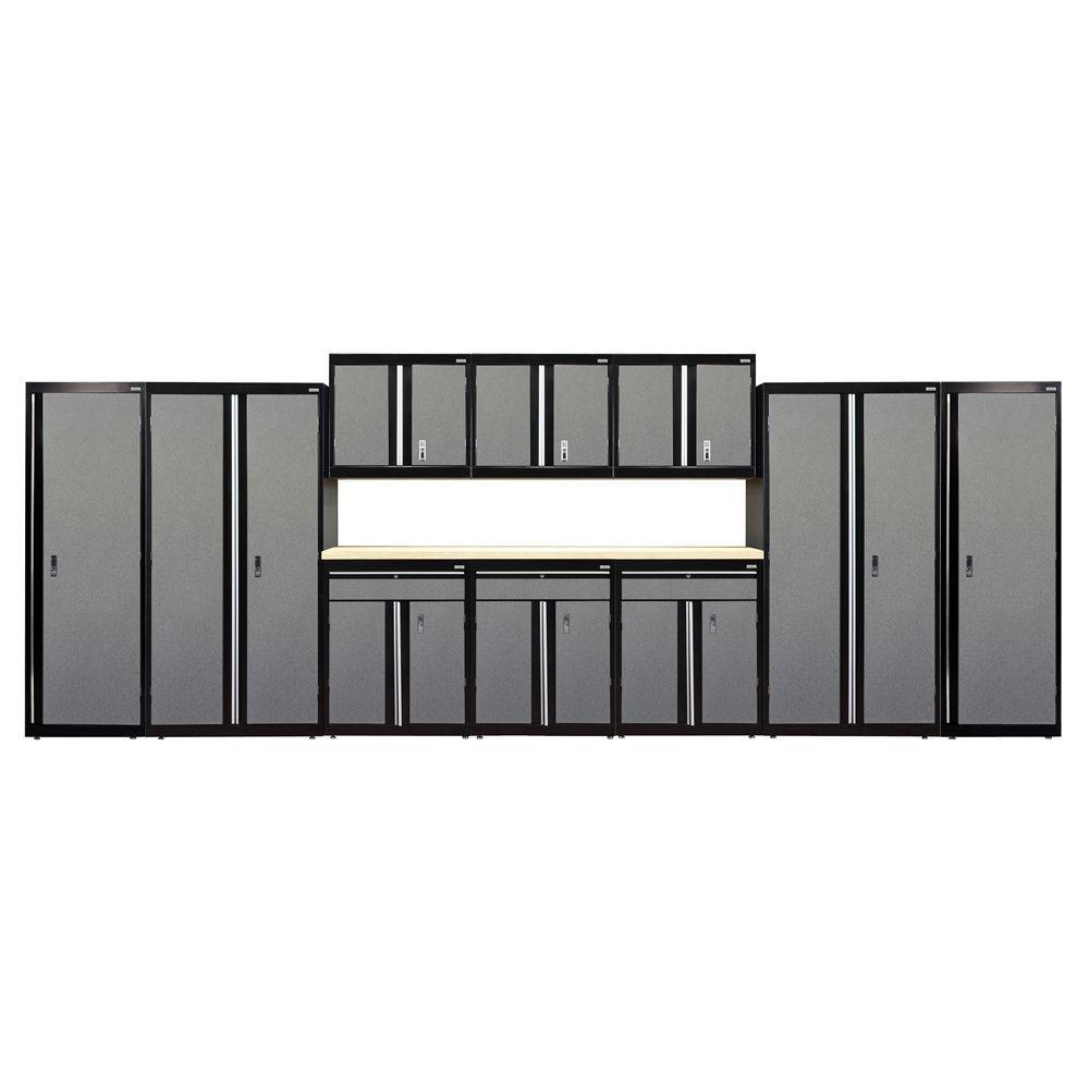72 in. H x 228 in. W x 18 in. D Welded Steel Garage Cabinet Set in Black/Multi-Granite (11-Piece)