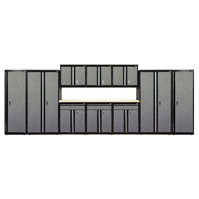 72 in. H x 228 in. W x 18 in. D Welded Steel Garage Storage System in Black/Multi-Granite (11-Piece)