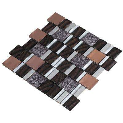 Vitray/02, Brown, 4 in. x 6 in. x 8 mm Glass/Metal/ Hand Painted Ceramic Mesh-Mounted Mosaic Tile, Tile Sample