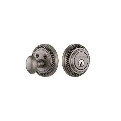 Rope Rosette 2-3/8 in. Backset Single Cylinder Deadbolt in Antique Pewter