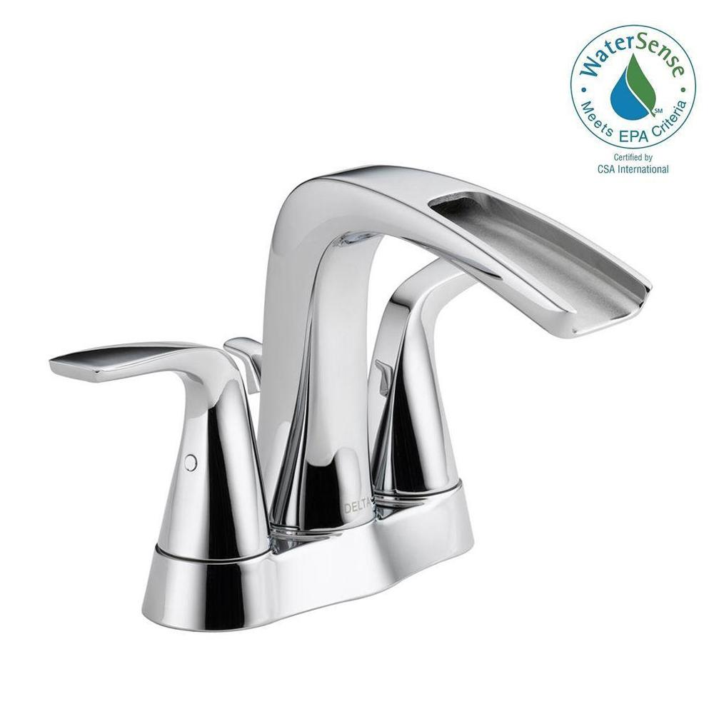 Delta Tolva 4 In Centerset 2 Handle Bathroom Faucet Chrome
