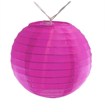 Battery Operated Fuchsia String Light with 6 in. Nylon Lanterns (10-Count)