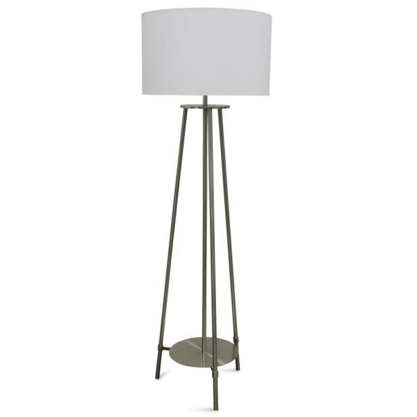 63 in. 3 Post Brushed Steel Floor Lamp with Tapered Drum Shade