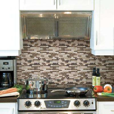 Bellagio Bello Approximately 3 in. W x 3 in. H Beige and Brown Decorative Mosaic Wall Tile Backsplash Sample