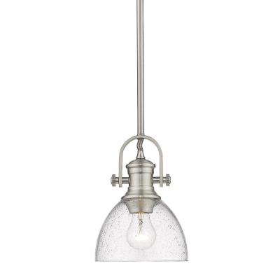 Hines 1-Light Pewter Mini Pendant with Seeded Glass