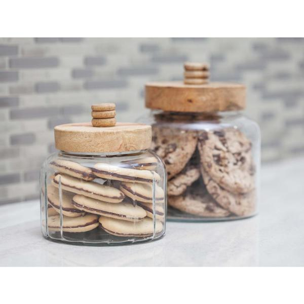 Litton Lane Cylindrical Clear Glass Jar with Brown Wood Lid (Set of 2)