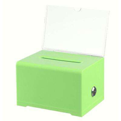 Acrylic Clear Locking Suggestion Box, Green