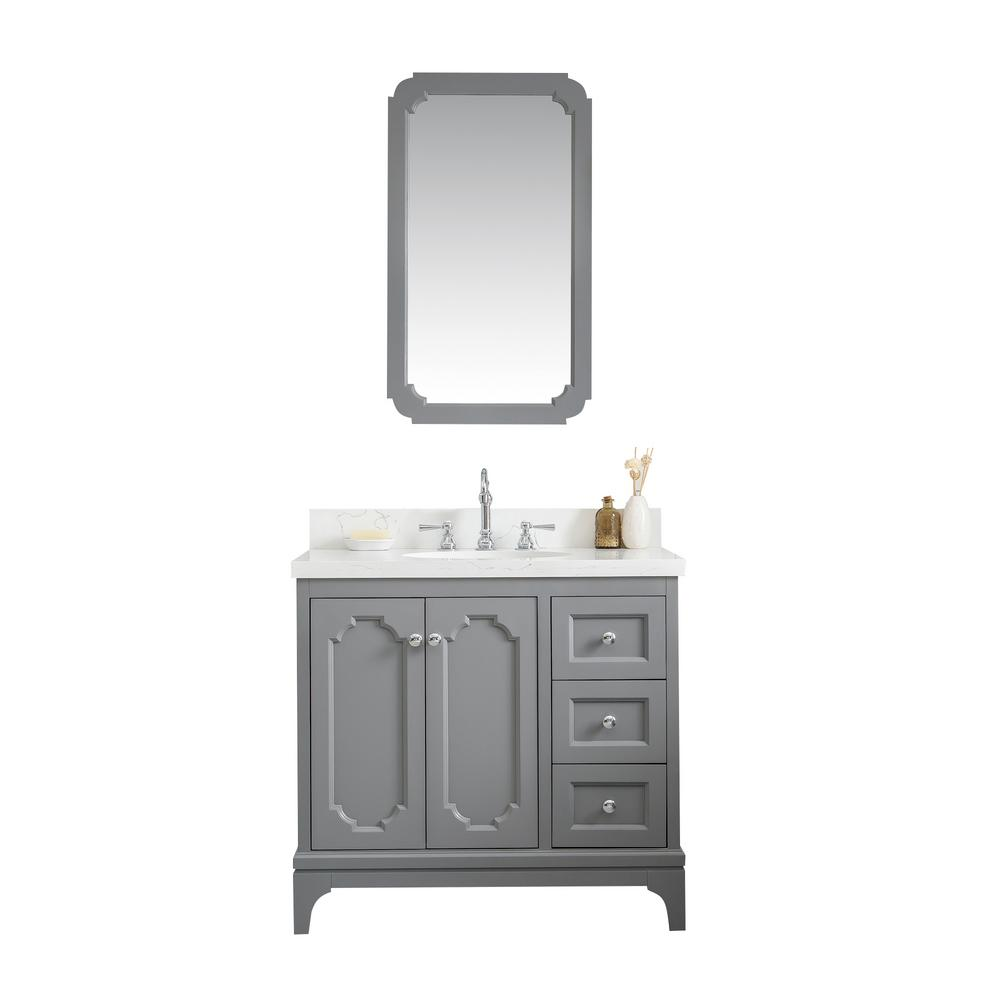Water Creation Queen 36 in. Bath Vanity in Cashmere Grey w/ Quartz Carrara Vanity Top w/ Ceramics White Basins and Mirror and Faucet