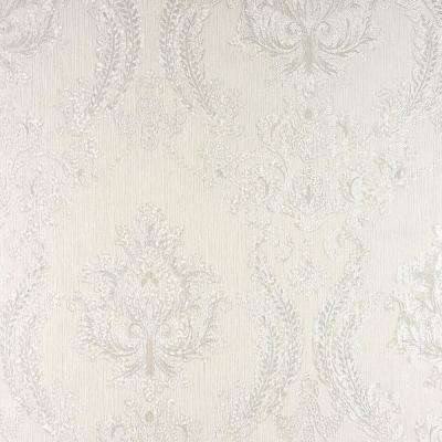 Maizey White Damask Paper Strippable Roll (Covers 57.8 sq. ft.)