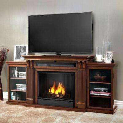 Calie Entertainment 67 in. Media Console Ventless Gel Fuel Fireplace in Dark Espresso
