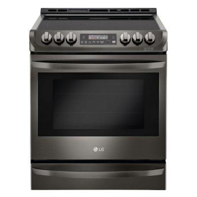 6.3 cu. ft. Slide-In Electric Range with ProBake Convection Oven, Self Clean and EasyClean in Black Stainless Steel