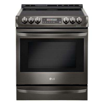 6.3 cu. ft. Slide-In Electric Range with ProBake Convection Oven in Black Stainless Steel