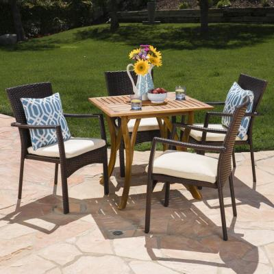 Zaire 5-Piece Wood and Wicker Square Outdoor Dining Set with Crme Cushion
