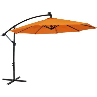 9.6 ft. Offset Cantilever Patio Umbrella with Solar LED Lights in Tangerine
