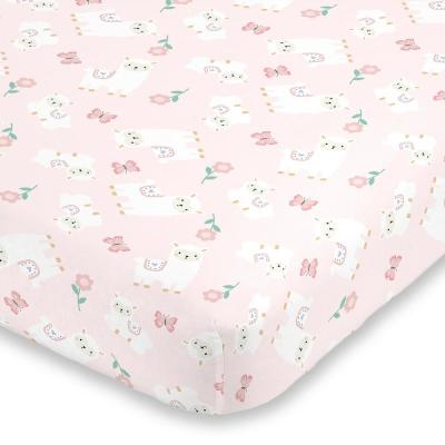 Sweet Llama and Butterflies Floral Pink and White Super Soft Polyester Fitted Crib Sheet
