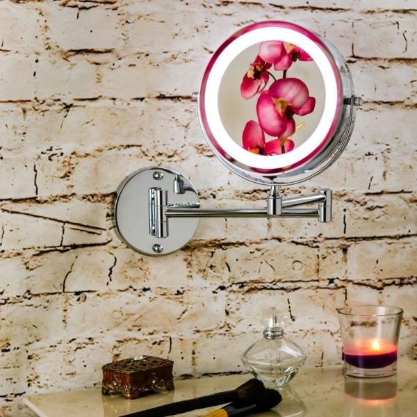 polished chrome wall mount led lighted makeup mirror with battery operated