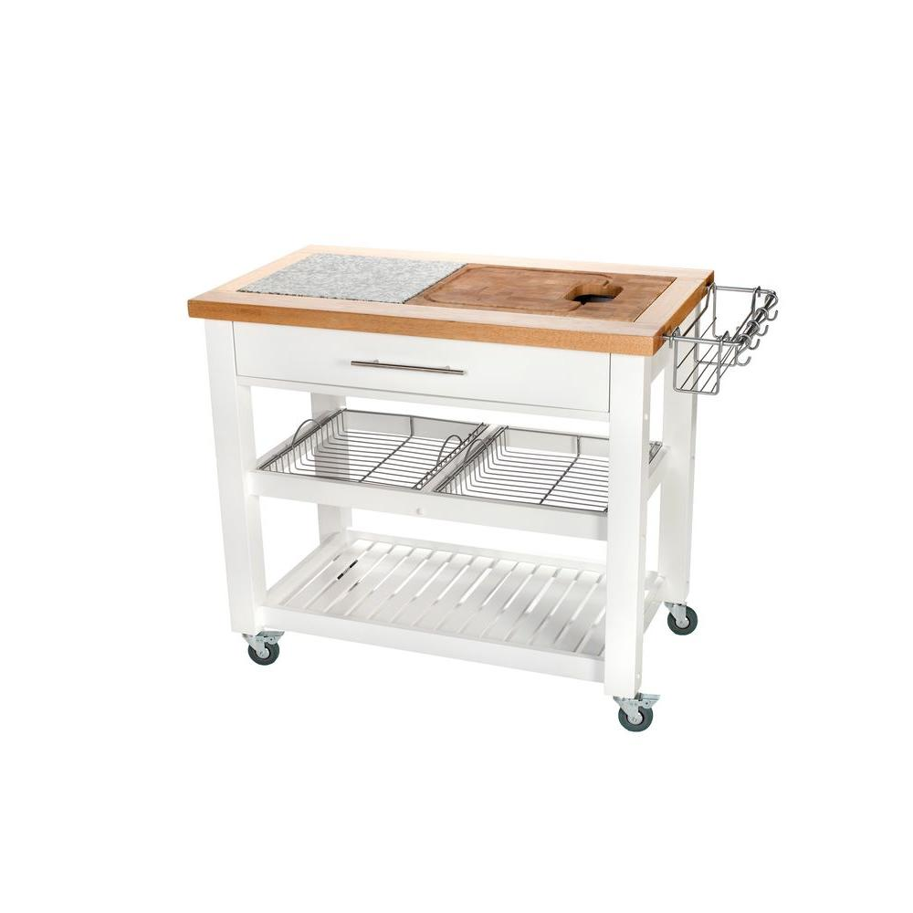Chris Pro Chef White Kitchen Cart With Chop And Drop System
