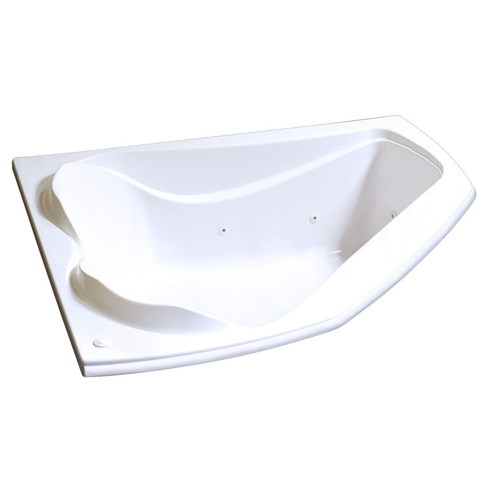 MAAX Velvet 5 ft. Whirlpool Corner Tub with 10 Microjets in White