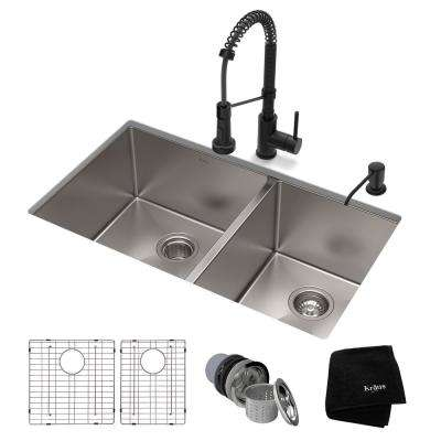 Standart PRO All-in-One Undermount Stainless Steel 33 in. Double Bowl Kitchen Sink with Faucet in Matte Black