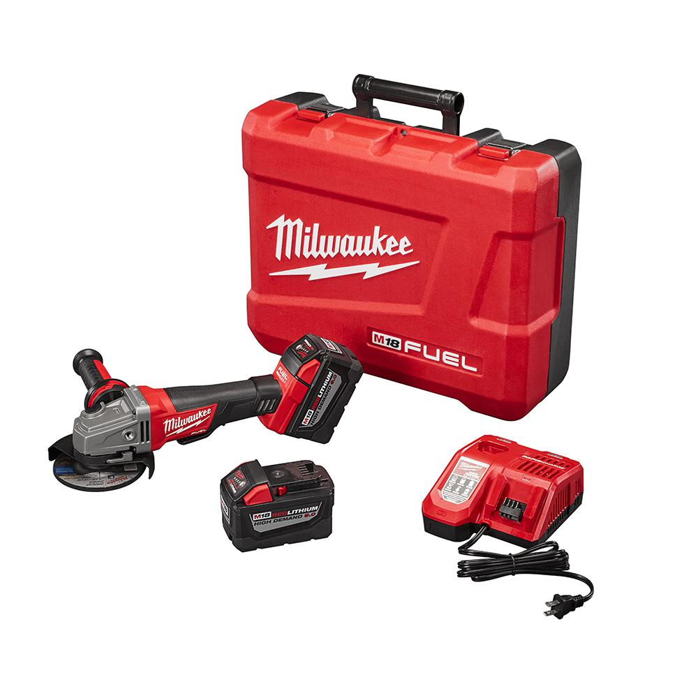 Milwaukee M18 FUEL 18-Volt Lithium-Ion Brushless Cordless 4-1/2 in./5 in. Grinder, Slide Switch Lock-On Kit W/(2) 9.0Ah Batteries