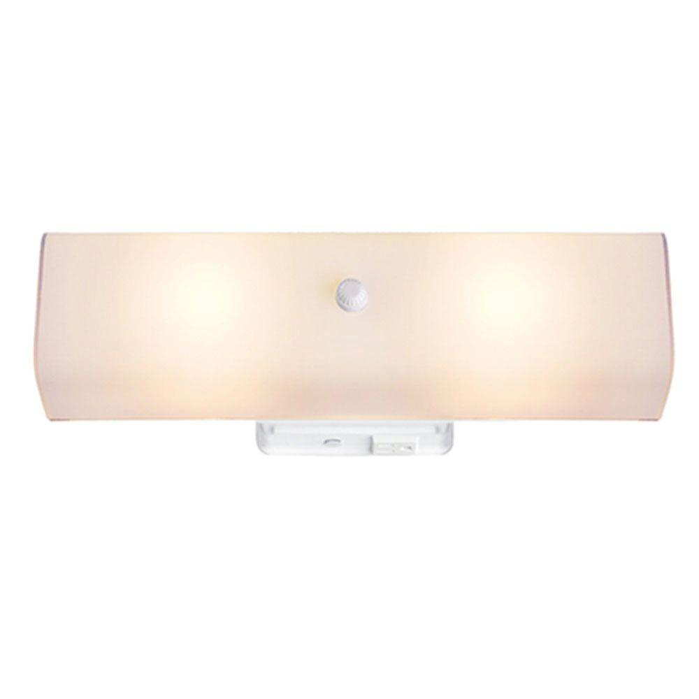 Hampton bay 14 in 2 light white surface mount bathroom vanity light with white