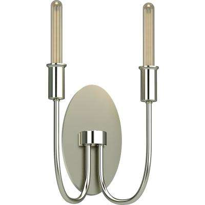 Concord 2-Light 4.5 in. Polished Nickel Indoor Vanity Wall Sconce or Wall Mount