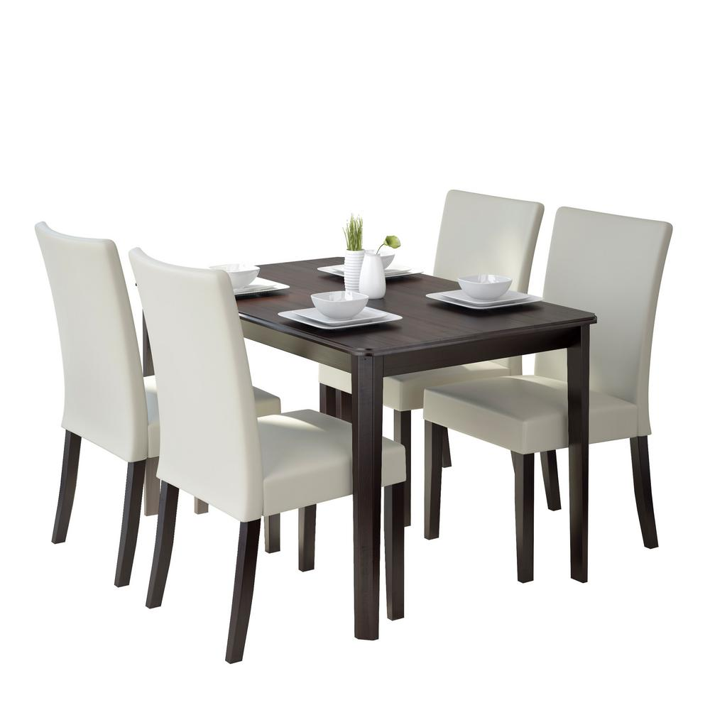 Cream Dining Set: CorLiving Atwood 5-Piece Dining Set With Cream Leatherette