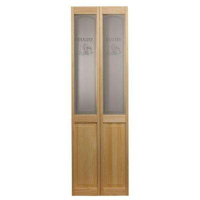 35.5 in. x 78.625 in. Pantry Glass Over Raised Panel 1/2-Lite Decorative Pine Wood Interior Bi-fold Door