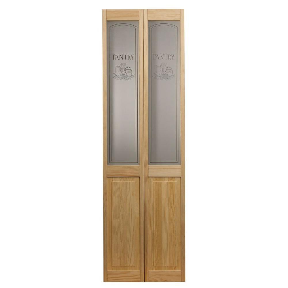 35.5 in. x 78.625 in. Pantry Glass Over Raised Panel 1/2-Lite Decorative Pine Wood Interior Bi-fold Door