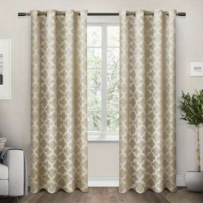 Cartago 54 in. W x 84 in. L Woven Blackout Grommet Top Curtain Panel in Taupe (2 Panels)