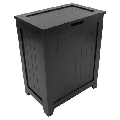 Contemporary Country Black Hamper with Wainscot Panels