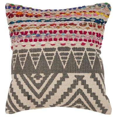 Bohemian Standard Geometric Poly-Fill Multi Color 18 in. x 18 in. Throw Pillow