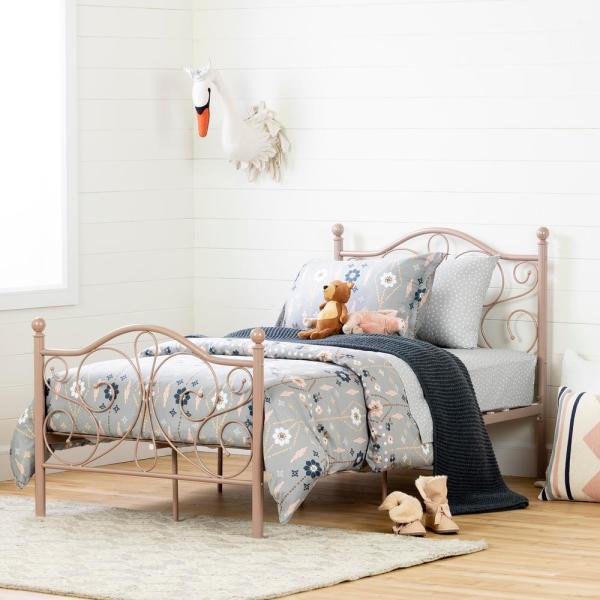 South Shore Country Poetry Pink Blush Twin Bed 12157